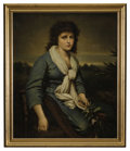 Fine Art - Painting, European:Antique  (Pre 1900), IRISH SCHOOL (Nineteenth Century). Portrait Of A Woman With HarpAnd Flowers. Oil on canvas. 30in. x 25in.. ... (Total: 1 Item)