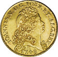 British West Indies: , British West Indies: Brazil gold 6400 Reis 1748-B, lightweightimitation of the regular type manufactured for circulation in theWest Indies. The...