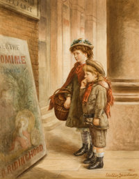WALTER GOODMAN (British, 1838-1912) Children in Front of a Theatre, 1883 Pencil and watercolor on pa