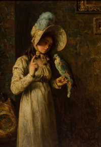 HENRY MOSLER (American, 1841-1920) Girl with Parrot, 1904 Oil on canvas 20 x 14 inches (50.8 x 35