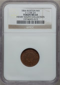 Civil War Merchants, 1864 Dunn & Co. Oyster House, Boston, MA. MS64 NGC.Fuld-115B-2a. Ex: Henry South Collection....