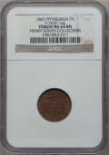 Civil War Merchants, 1863 Pittock's News Depot, Pittsburgh, PA Token MS64 Brown NGC.Fuld-765P-14a. Ex: Henry South Collection....