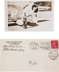 """Autographs:Celebrities, Famed American Aviator Wiley Post Real Photo Post Card and """"Winnie Mae"""" Round the World Flight Post Marked Envelope Signed by ... (Total: 2 Items)"""