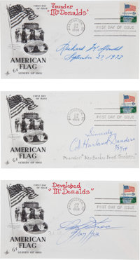 Three First Day Covers Signed by Fast Food Founders