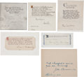 Autographs, Quotations Signed by 6 Notable Authors. ...
