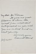 Autographs, Learned Hand Autograph Letter Signed. ...