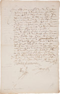 "Autographs:Non-American, Charlotte de Beaune Semblançay, Vicountess of Tours, Baroness deSauve, Marquise de Noirmoutier Document Signed ""Charlotte..."