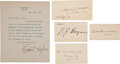 Autographs:Statesmen, Charles E. Hughes Typed Letter Signed, with Signatures... (Total: 4 Items)