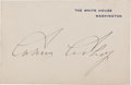 Autographs:U.S. Presidents, Calvin Coolidge White House Card Signed....
