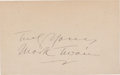 Autographs:Authors, Mark Twain Signature...
