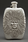 Silver Holloware, American:Flasks, AN UNGER BROTHERS LARGE SILVER INDIAN HEAD FLASK . Unger Bros.,Newark, New Jersey, circa 1905. Marks: (UB intertwined),S...