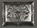 Silver & Vertu:Hollowware, AN UNGER BROTHERS SILVER INDIAN HEAD STAMP BOX . Unger Bros., Newark, New Jersey, circa 1905. Marks: (UB intertwined), STE...