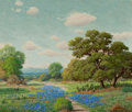 Texas:Early Texas Art - Regionalists, WALTON LEADER (American, 1877-1966). Texas Landscape withBluebonnets. Oil on canvas . 24 x 28-1/2 inches (61.0 x 72.4c...