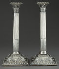 Silver Holloware, British:Holloware, A PAIR OF GEORGE II SILVER CANDLESTICKS . Maker unknown, London,England, circa 1759-1762. Marks: (lion passant), (leopard's...(Total: 2 Items)