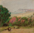 Texas:Early Texas Art - Regionalists, FRANK REAUGH (American, 1860-1945). (Untitled) Steer with PinkRocks. Pastel on paper. 3-1/2 x 3-1/2 inches (8.9 x 8.9 c...