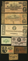 Confederate Notes:1863 Issues, Confederate and Fractional Notes.. ... (Total: 8 notes)