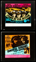 "Movie Posters:War, Immortal Sergeant & Other Lot (20th Century Fox, 1943). GlassSlides (2) (2.5"" X 3""). War.. ... (Total: 2 Items)"