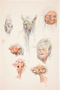 Art:Comic Art - Sketches, JACK DAVIS (American, b. 1926). Set of Three PortraitSketches. Pencil and watercolor on board . 15 x 10 in.(largest). ...