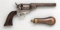 Handguns:Single Action Revolver, Colt Model 1848 Type II Baby Dragoon Percussion Revolver inAssociated Case with Powder Flask....