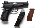 Handguns:Semiautomatic Pistol, **Cased Model CZ75B Double Action Semi-Automatic Pistol Togetherwith Extra Magazine, Grips, Lock, Extra Sights and Cleaning T...