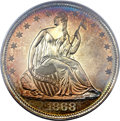 Proof Seated Half Dollars, 1868 50C PR67 Cameo PCGS. CAC....