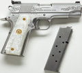 Handguns:Semiautomatic Pistol, **Cased Custom Engraved Colt Combat Commander Semi-Automatic Pistol....