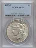 Peace Dollars: , 1927-S $1 AU53 PCGS. PCGS Population (83/4362). NGC Census:(60/2933). Mintage: 866,000. Numismedia Wsl. Price for problem ...