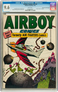 Golden Age (1938-1955):War, Airboy Comics V3#4 Mile High pedigree (Hillman Fall, 1946) CGC NM+9.6 White pages....