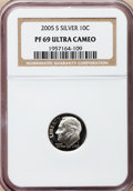 Proof Roosevelt Dimes, 2005-S 10C Silver PR69 Ultra Cameo NGC. PCGS Population (2831/385).Numismedia Wsl. Price for problem f...