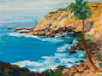 RITA HOFFMAN SHULAK (American, 20th Century) Turquoise Waters Oil on canvas 12 x 16 inches (30.5