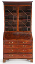 Furniture , GEORGE III STYLE MAHOGANY BUREAU BOOKCASE . England, 19th century. 84 x 43-3/4 x 13-1/2 inches (213.4 x 111.1 x 34.3 cm). ... (Total: 5 Items)