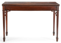 GEORGE III STYLE MAHOGANY FLIP-TOP GAME TABLE WITH TWO SWING LEGS English, 19th century 28-1/2 x 42 x 19 inche