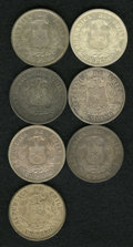 Chile: , Chile: Republic - Date Collection of Condor Pesos, KM142.1, sevendates including: 1869 toned XF-AU, 1870 AXF, 1871 toned AU,scarc... (Total: 7 coins Item)