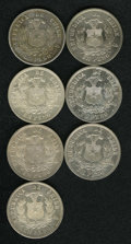 Chile: , Chile: Republic - Peso Date Collection, KM142.1, seven datesfeaturing: 1877 XF, 1878 AU, harshly cleaned, 1879 choice lustrousAU-... (Total: 7 coins Item)