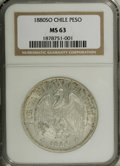 Chile: , Chile: Republic Peso 1880, KM142.1, MS63 NGC, fully lustrous withlight toning in the obverse legends....