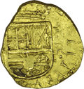 Colombia: , Colombia: Felipe IV gold 2 Escudos ND (1650-1660), KM4, crude VF-XFbut nicely struck on the obverse with clear NR to the right ofthe...