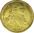 Colombia: , Colombia: Ferdinand VII gold 8 Escudos 1819FM-P, KM66.2, sharp AU,exceptionally nice surfaces with abundant original mint color.Very...