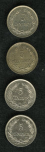 Ecuador: , Ecuador: Republic 5 Centavos 1919, KM63, UNC, four pieces, one toned and two with some prooflike qualities. Sold as is, no return l... (Total: 4 coins Item)