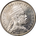 Ethiopia: , Ethiopia: Menelik II 1/2 Bir 1888EE (1896), KM4, prooflike AU-UNC, cleaned at one time leaving hairlines on both sides and one small e...
