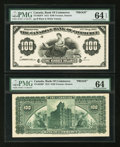 Canadian Currency: , Toronto, ON- The Canadian Bank of Commerce $100 May 1, 1912 Ch. # 75-14-62FP/BP Face and Back Proofs. ... (Total: 2 notes)