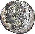 Ancients:Greek, Ancients: PUNIC ITALY. Time of Hannibal. Ca. 216-205 BC. AR 1/4shekel (2.19 gm). ...