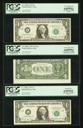 Error Notes:Skewed Reverse Printing, Fr. 1909-L $1 1977 Federal Reserve Notes. Three ConsecutiveExamples. PCGS Very Choice New 64PPQ (2) and Choice New 63PPQ.. ...(Total: 3 notes)