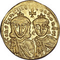 Ancients:Byzantine, Ancients: Constantine V, with Leo III and IV (AD 741-775). AVsolidus (4.39 gm). ...