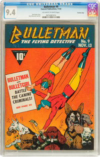 Bulletman #9 Crowley Copy pedigree (Fawcett, 1942) CGC NM 9.4 Off-white to white pages
