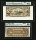 Canadian Currency: , Halifax, NS- The Merchants' Bank of Halifax $5 July 1, 1880 Ch. #465-20-02FP/BP Face and Back Proofs . ... (Total: 2 notes)