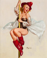 GIL ELVGREN (American, 1914-1980) Fire Belle (Always Ready), 1956 Oil on canvas 29 x 23 in. Si