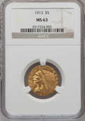 Indian Half Eagles: , 1913 $5 MS63 NGC. NGC Census: (1010/460). PCGS Population(1251/529). Mintage: 915,900. Numismedia Wsl. Price for problemf...