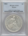 Seated Dollars: , 1866 $1 Motto VF35 PCGS. PCGS Population (9/131). NGC Census:(2/71). Mintage: 48,900. Numismedia Wsl. Price for problem fr...