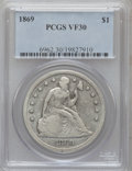 Seated Dollars: , 1869 $1 VF30 PCGS. PCGS Population (8/154). NGC Census: (4/78).Mintage: 423,700. Numismedia Wsl. Price for problem free NG...