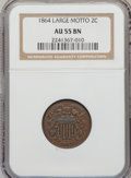 Two Cent Pieces: , 1864 2C Large Motto AU55 Brown NGC. NGC Census: (38/1290). PCGSPopulation (77/861). Mintage: 19,847,500. Numismedia Wsl. P...
